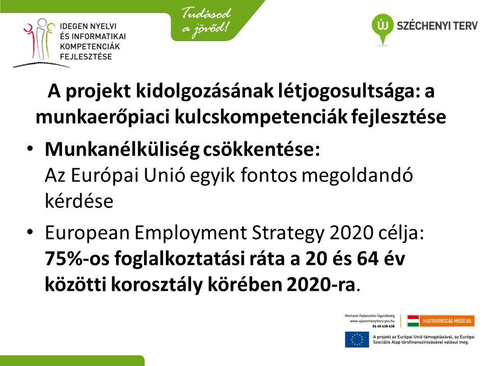 A projekt kidolgozásának létjogosultsága: a munkaerőpiaci kulcskompetenciák fejlesztése • Munkanélküliség csökkentése: Az Európai Unió egyik fontos me