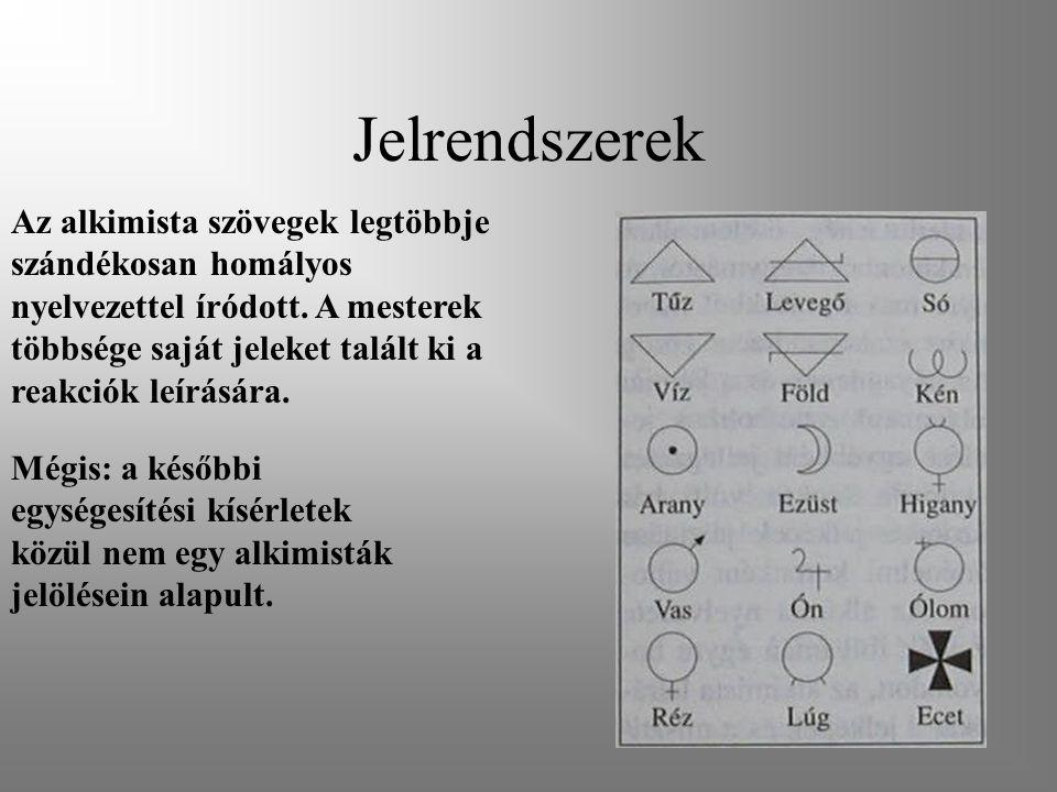 Jelrendszerek Az alkimista szövegek legtöbbje szándékosan homályos nyelvezettel íródott. A mesterek többsége saját jeleket talált ki a reakciók leírás