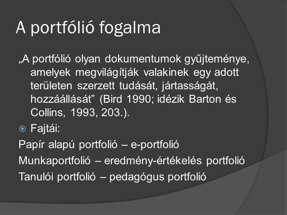 """A portfólió fogalma """"A portfólió olyan dokumentumok gyűjteménye, amelyek megvilágítják valakinek egy adott területen szerzett tudását, jártasságát, ho"""
