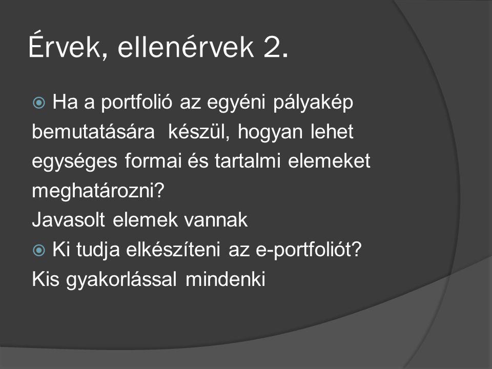 Érvek, ellenérvek 2.  Ha a portfolió az egyéni pályakép bemutatására készül, hogyan lehet egységes formai és tartalmi elemeket meghatározni? Javasolt