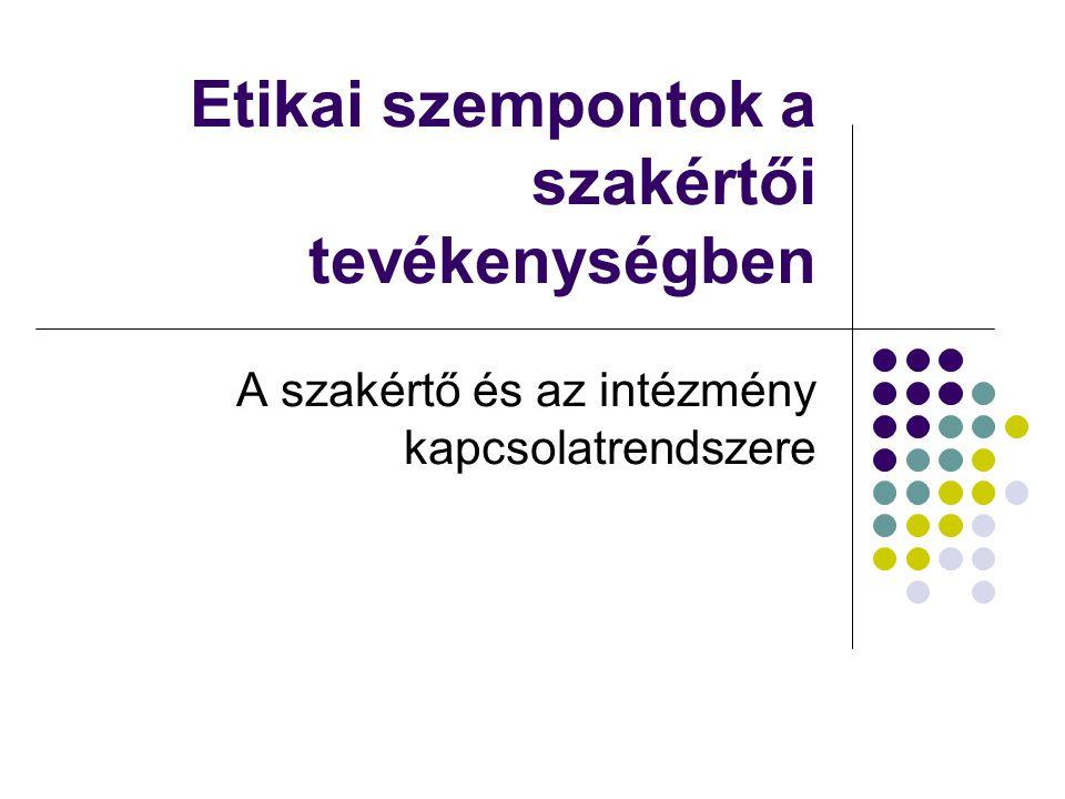Etikához kapcsolódó fogalmak  Kompetenciák/referenciák  Konfliktusok  Szerepek és szerepzavarok, identitás  Függetlenség  Összeférhetetlenség  Díjazás  Jogszerűség/tényszerűség/objektivitás  Bizalmas információ kezelés