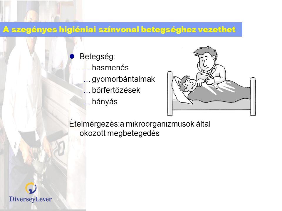 A szegényes higiéniai színvonal betegséghez vezethet  Betegség: …hasmenés …gyomorbántalmak …bőrfertőzések …hányás Ételmérgezés:a mikroorganizmusok ál