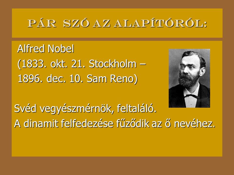 Pár szó az alapítóról: Alfred Nobel Alfred Nobel (1833.