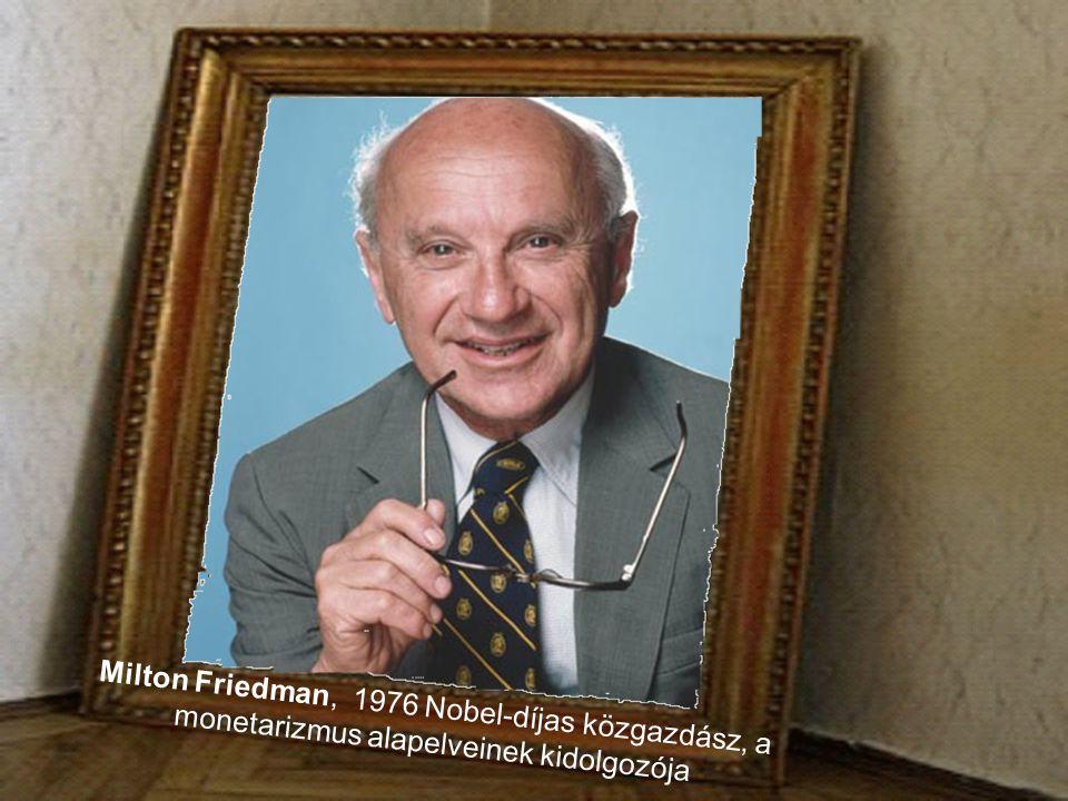 Milton Friedman, 1976 Nobel-díjas közgazdász, a monetarizmus alapelveinek kidolgozója