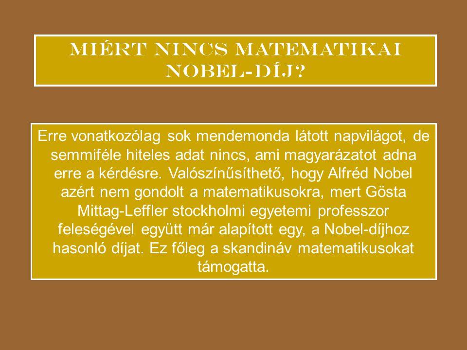 Miért nincs matematikai Nobel-díj.