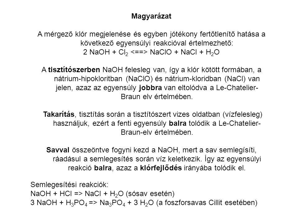 Magyarázat A mérgező klór megjelenése és egyben jótékony fertőtlenítő hatása a következő egyensúlyi reakcióval értelmezhető: 2 NaOH + Cl 2 NaClO + NaC