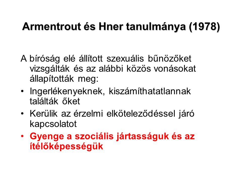 Armentrout és Hner tanulmánya (1978) A bíróság elé állított szexuális bűnözőket vizsgálták és az alábbi közös vonásokat állapították meg: •Ingerlékeny