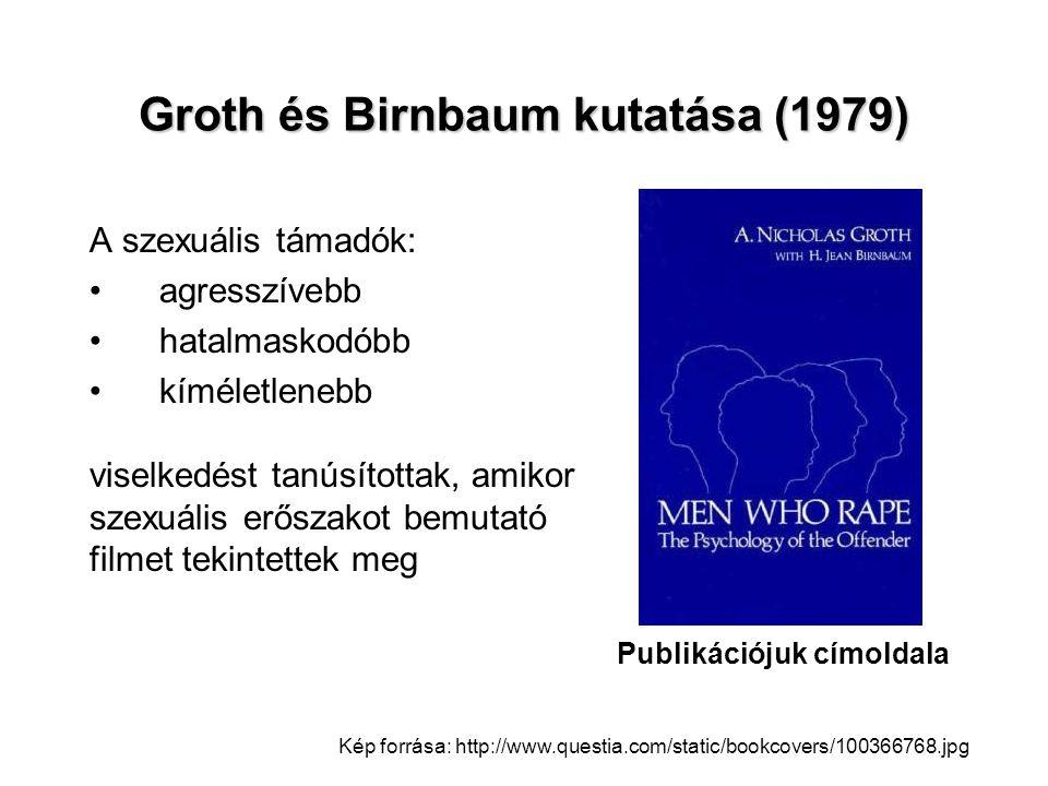 Groth és Birnbaum kutatása (1979) A szexuális támadók: •agresszívebb •hatalmaskodóbb •kíméletlenebb viselkedést tanúsítottak, amikor szexuális erőszak