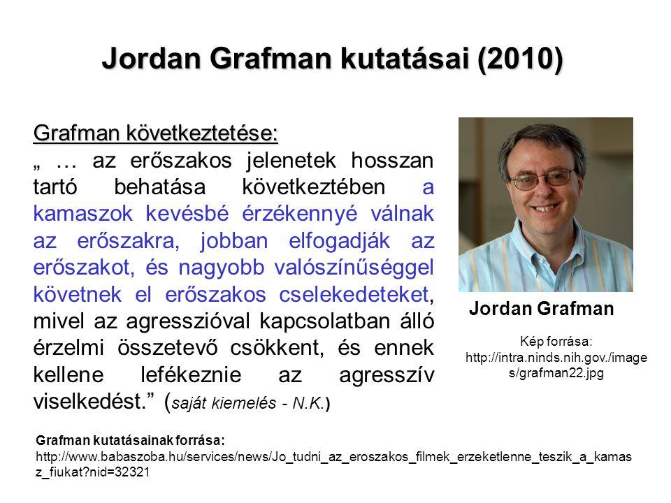 """Jordan Grafman kutatásai (2010) Jordan Grafman Grafman következtetése: """" … az erőszakos jelenetek hosszan tartó behatása következtében a kamaszok kevé"""