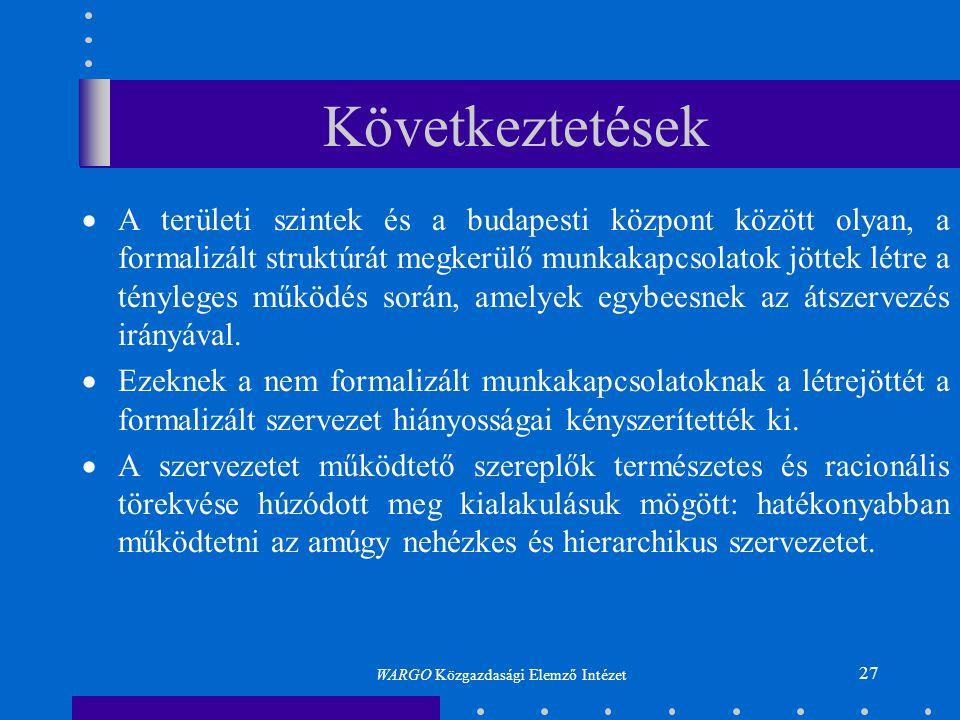 27 Következtetések  A területi szintek és a budapesti központ között olyan, a formalizált struktúrát megkerülő munkakapcsolatok jöttek létre a tényle