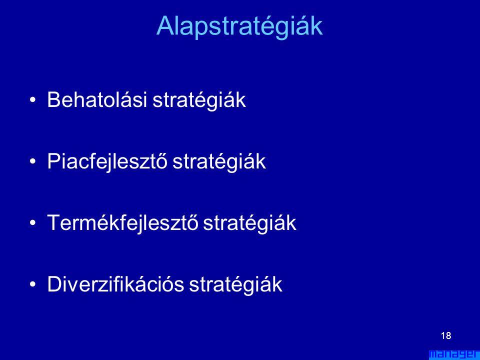 17 Stratégiai tervek kidolgozása •A•Alapstratégiák kidolgozása –p–piaci fokusz –m–megkülönböztető stratégia –t–terjeszkedési stratégia –a–a részletek