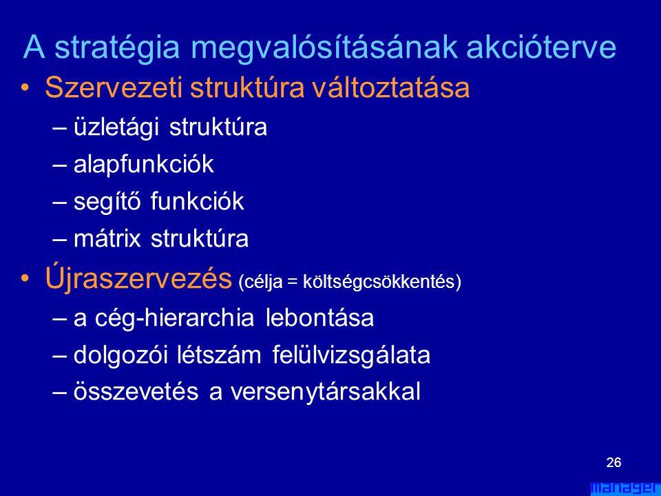 25 A stratégia megvalósításának akcióterve •Erőforrás allokáció –négyféle erőforrást kell elosztani •pénzügyi •tárgyi •emberi •technológiai –elő kell