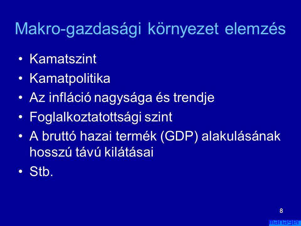 7 Politikai és jogi környezet elemzés A következő kérdéseket kell átgondolni: –Mennyire stabil a gazdaságpolitikai környezet? –A kormány a közeljövőbe