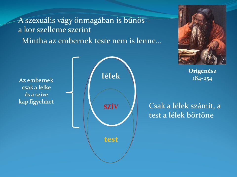 A szexuális vágy önmagában is bűnös – a kor szelleme szerint Origenész 184-254 Mintha az embernek teste nem is lenne… lélek test SZÍV Csak a lélek szá