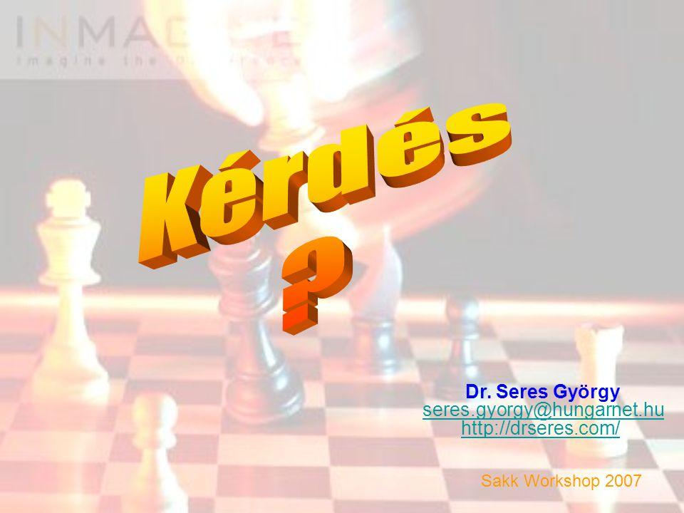 Dr. Seres György seres.gyorgy@hungarnet.hu http://drseres.com/ Sakk Workshop 2007