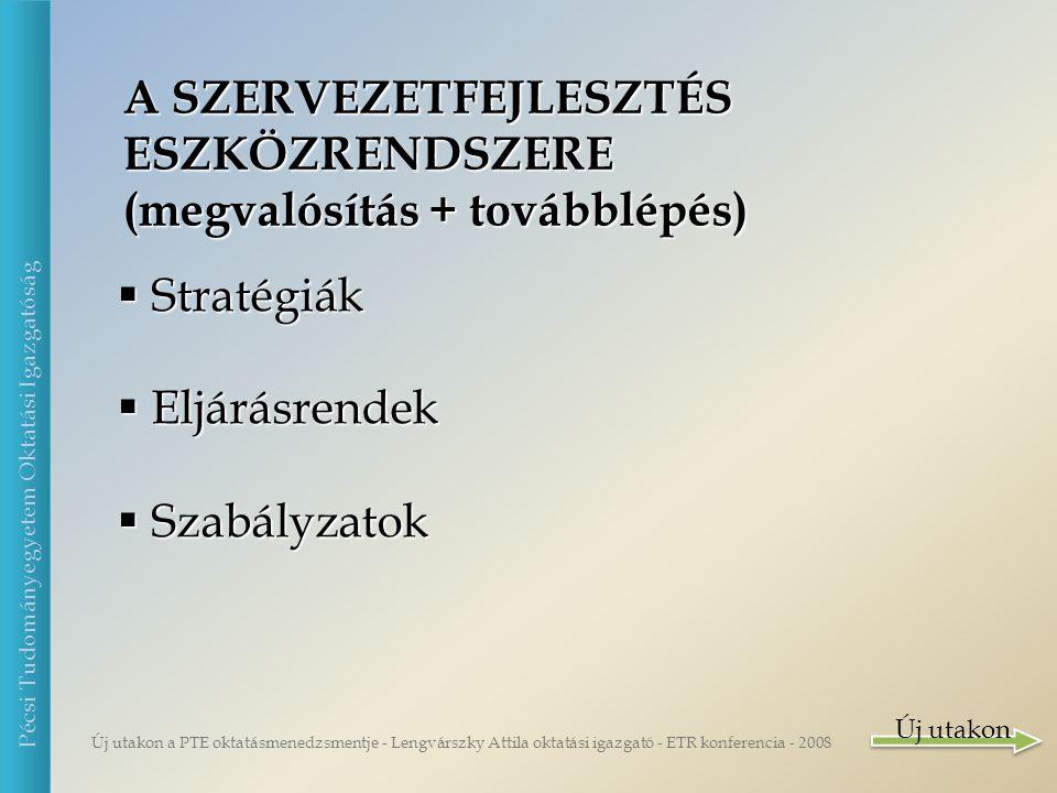 Új utakon a PTE oktatásmenedzsmentje - Lengvárszky Attila oktatási igazgató - ETR konferencia - 2008 Pécsi Tudományegyetem Oktatási Igazgatóság JÖVŐKÉP 01.