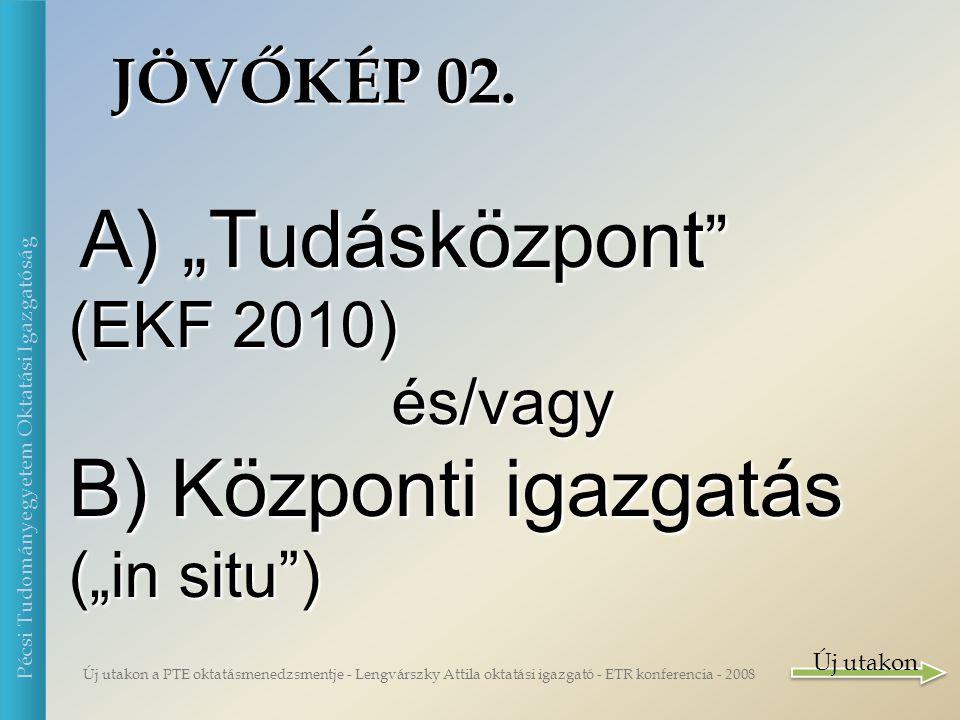 Új utakon a PTE oktatásmenedzsmentje - Lengvárszky Attila oktatási igazgató - ETR konferencia - 2008 Pécsi Tudományegyetem Oktatási Igazgatóság Mi is a siker.