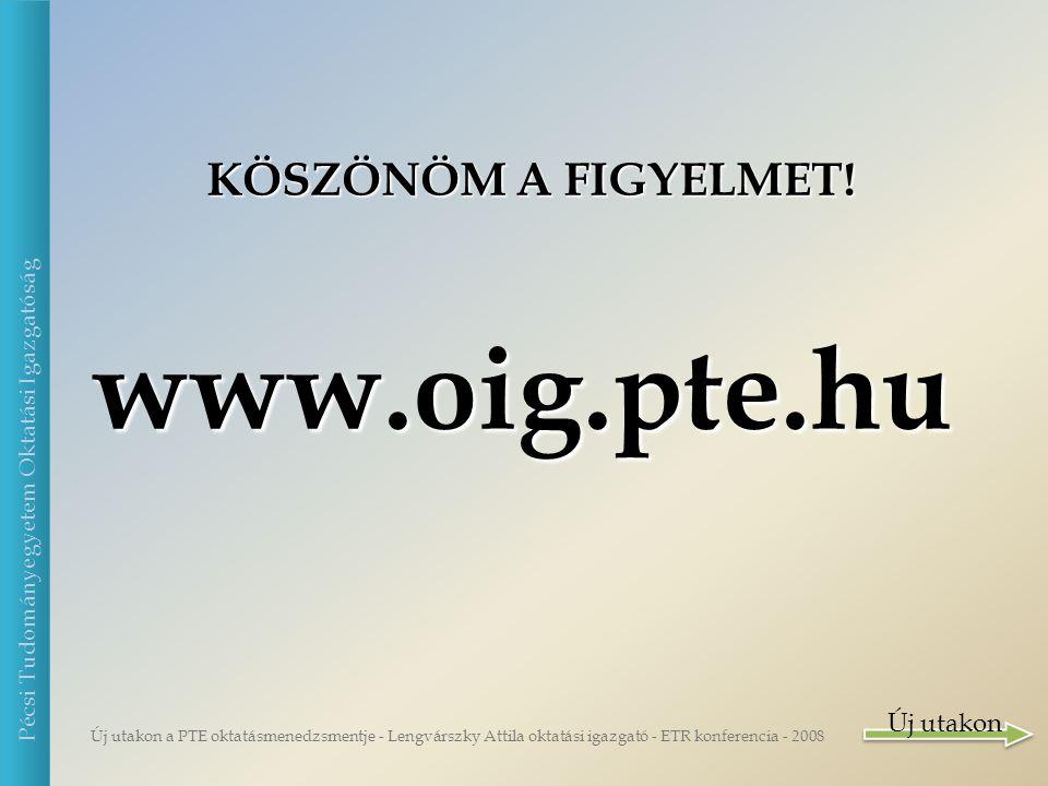 Új utakon a PTE oktatásmenedzsmentje - Lengvárszky Attila oktatási igazgató - ETR konferencia - 2008 Pécsi Tudományegyetem Oktatási Igazgatóság KÖSZÖNÖM A FIGYELMET.