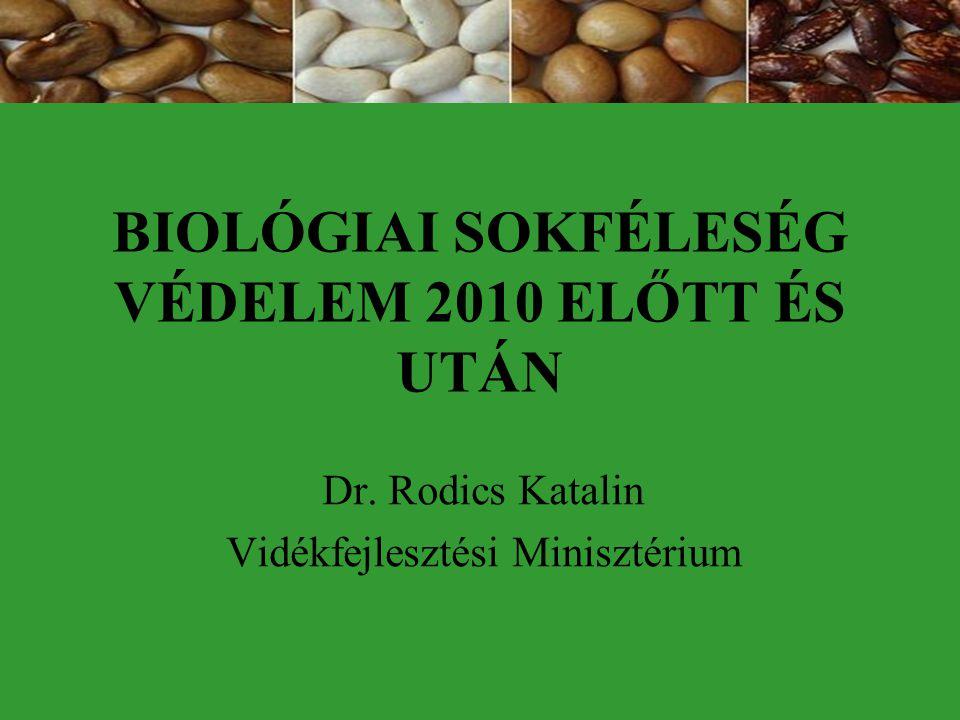 BIOLÓGIAI SOKFÉLESÉG VÉDELEM 2010 ELŐTT ÉS UTÁN Dr. Rodics Katalin Vidékfejlesztési Minisztérium