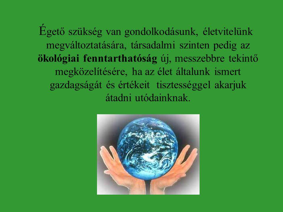 É gető szükség van gondolkodásunk, életvitelünk megváltoztatására, társadalmi szinten pedig az ökológiai fenntarthatóság új, messzebbre tekintő megközelítésére, ha az élet általunk ismert gazdagságát és értékeit tisztességgel akarjuk átadni utódainknak.
