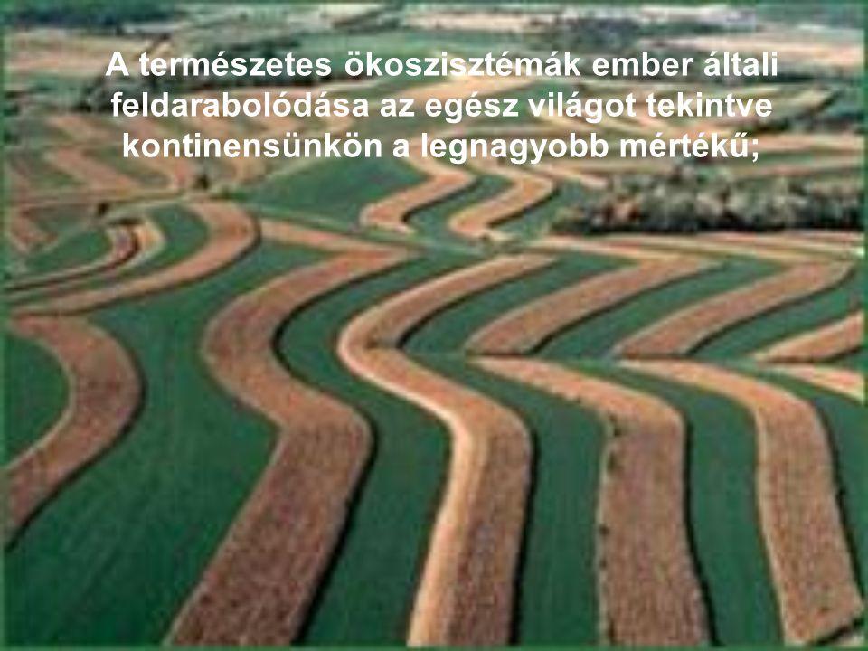 A természetes ökoszisztémák ember általi feldarabolódása az egész világot tekintve kontinensünkön a legnagyobb mértékű;