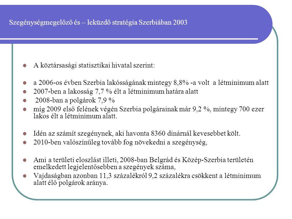 Szegénységmegelőző és – leküzdő stratégia Szerbiában 2003  A köztársasági statisztikai hivatal szerint:  a 2006-os évben Szerbia lakósságának mintegy 8,8% -a volt a létminimum alatt  2007-ben a lakosság 7,7 % élt a létminimum határa alatt  2008-ban a polgárok 7,9 %  míg 2009 első felének végén Szerbia polgárainak már 9,2 %, mintegy 700 ezer lakos élt a létminimum alatt.