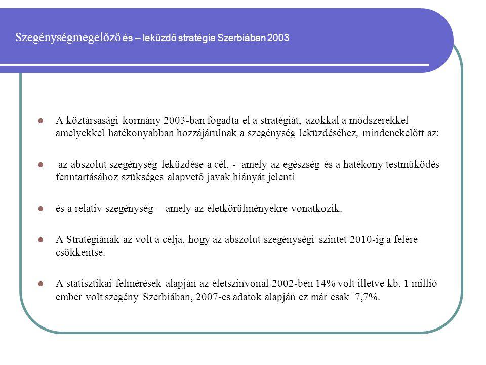 Szegénységmegelőző és – leküzdő stratégia Szerbiában 2003  A köztársasági kormány 2003-ban fogadta el a stratégiát, azokkal a módszerekkel amelyekkel hatékonyabban hozzájárulnak a szegénység leküzdéséhez, mindenekelőtt az:  az abszolut szegénység leküzdése a cél, - amely az egészség és a hatékony testműködés fenntartásához szükséges alapvető javak hiányát jelenti  és a relativ szegénység – amely az életkörülményekre vonatkozik.