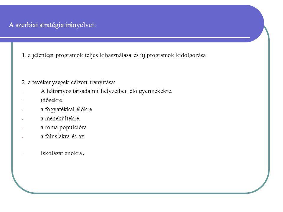 A szerbiai stratégia irányelvei: 1.