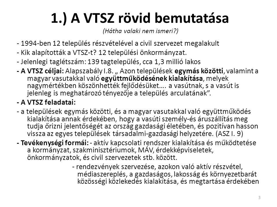 1.) A VTSZ rövid bemutatása (Hátha valaki nem ismeri?) - 1994-ben 12 település részvételével a civil szervezet megalakult - Kik alapították a VTSZ-t.