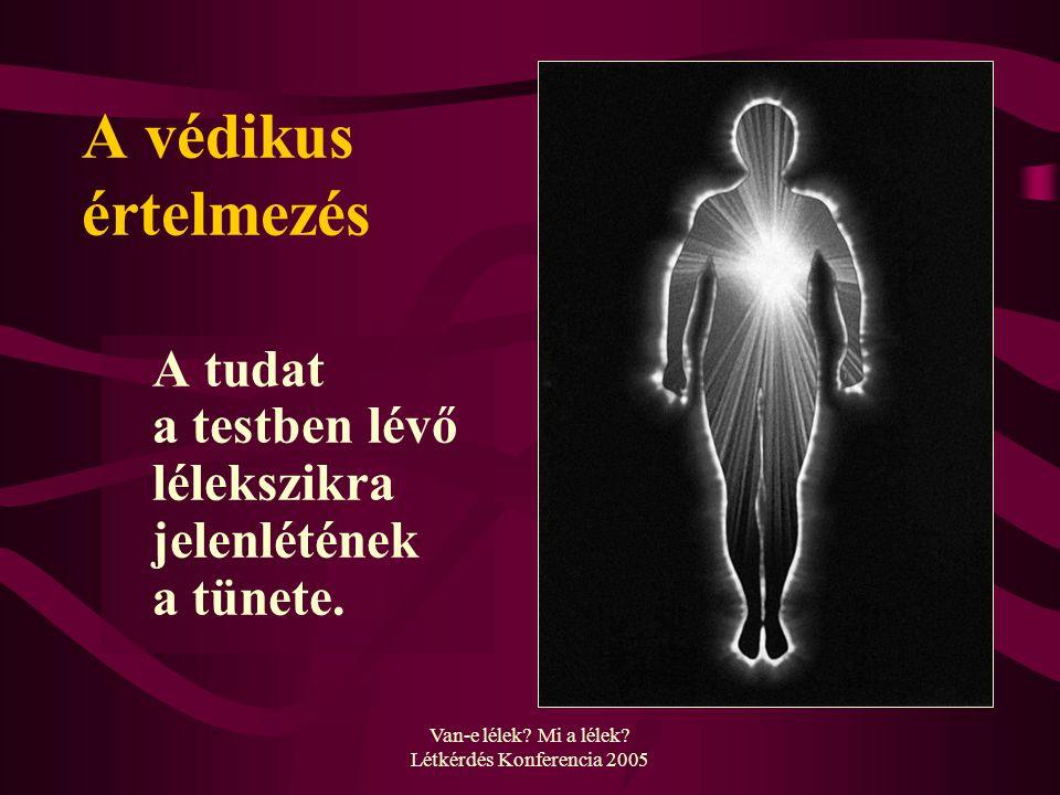 Van-e lélek? Mi a lélek? Létkérdés Konferencia 2005 A védikus értelmezés A tudat a testben lévő lélekszikra jelenlétének a tünete.