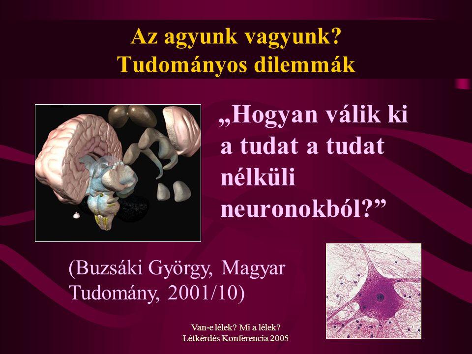 """Van-e lélek? Mi a lélek? Létkérdés Konferencia 2005 Az agyunk vagyunk? Tudományos dilemmák """"Hogyan válik ki a tudat a tudat nélküli neuronokból?"""" (Buz"""
