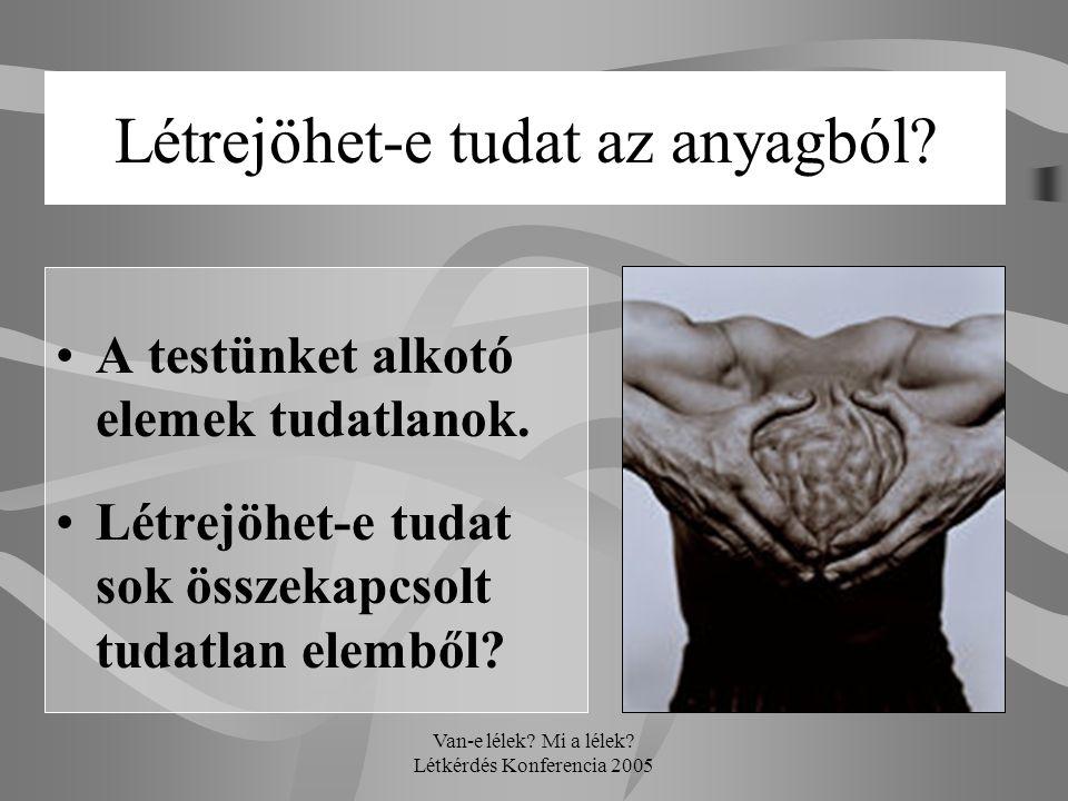 Van-e lélek? Mi a lélek? Létkérdés Konferencia 2005 Létrejöhet-e tudat az anyagból? •A testünket alkotó elemek tudatlanok. •Létrejöhet-e tudat sok öss