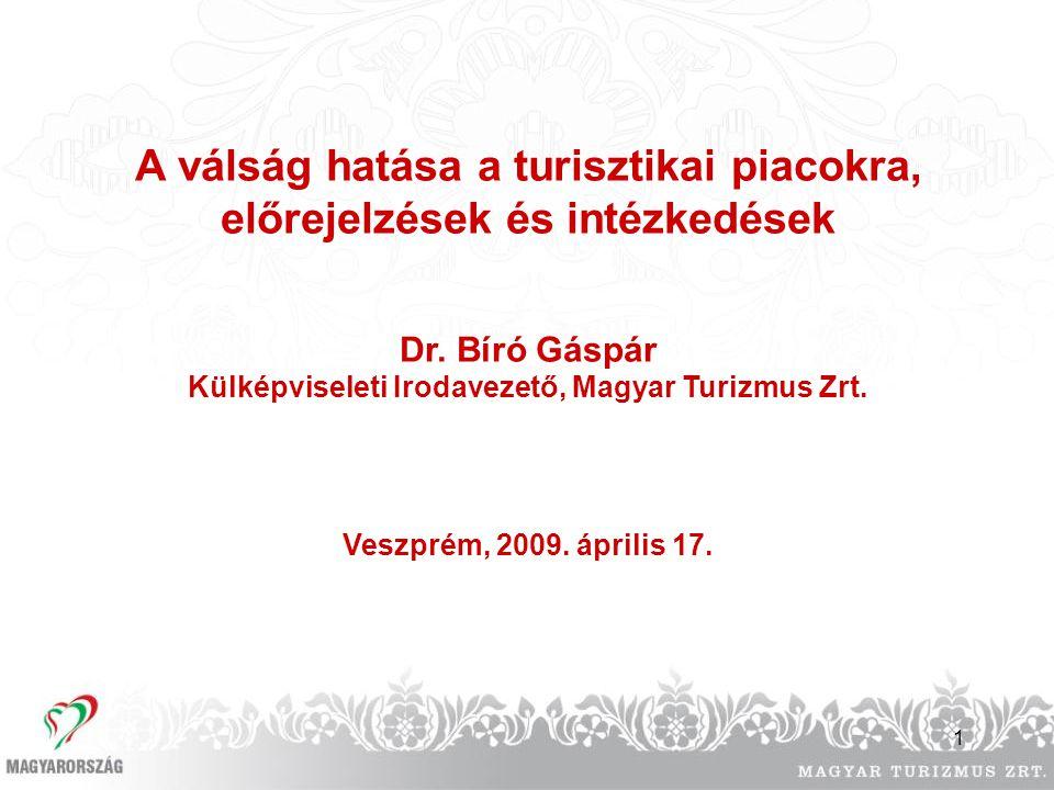 1 A válság hatása a turisztikai piacokra, előrejelzések és intézkedések Dr. Bíró Gáspár Külképviseleti Irodavezető, Magyar Turizmus Zrt. Veszprém, 200