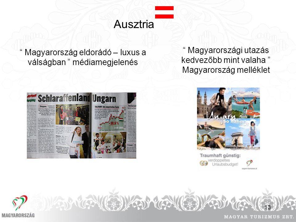 """13 Ausztria """" Magyarország eldorádó – luxus a válságban """" médiamegjelenés """" Magyarországi utazás kedvezőbb mint valaha """" Magyarország melléklet"""