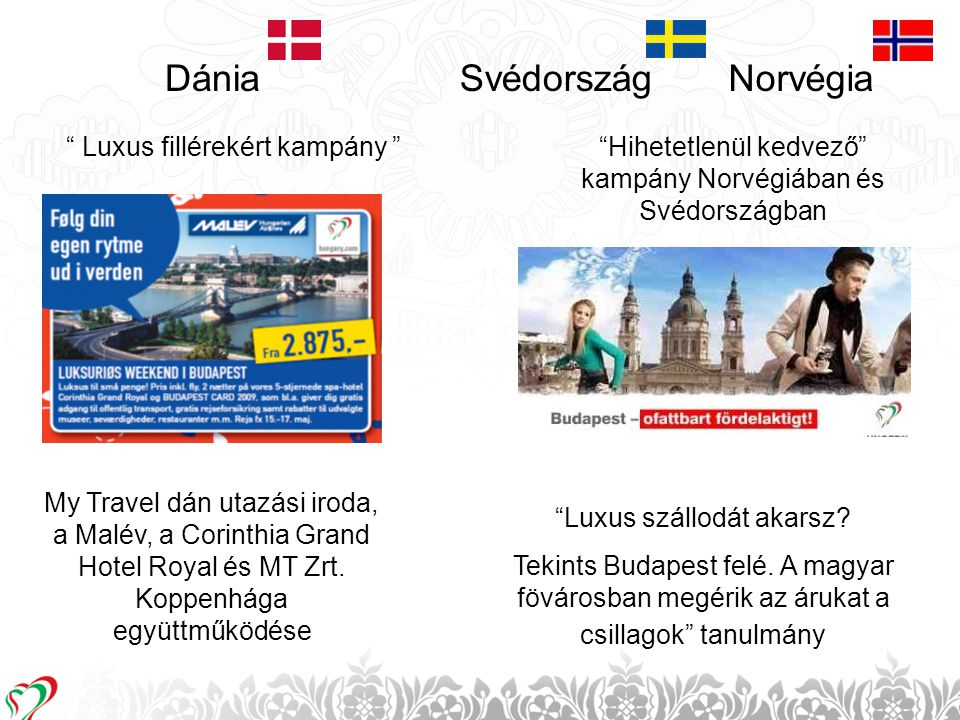 """14 Dánia """" Luxus fillérekért kampány """" My Travel dán utazási iroda, a Malév, a Corinthia Grand Hotel Royal és MT Zrt. Koppenhága együttműködése Svédor"""
