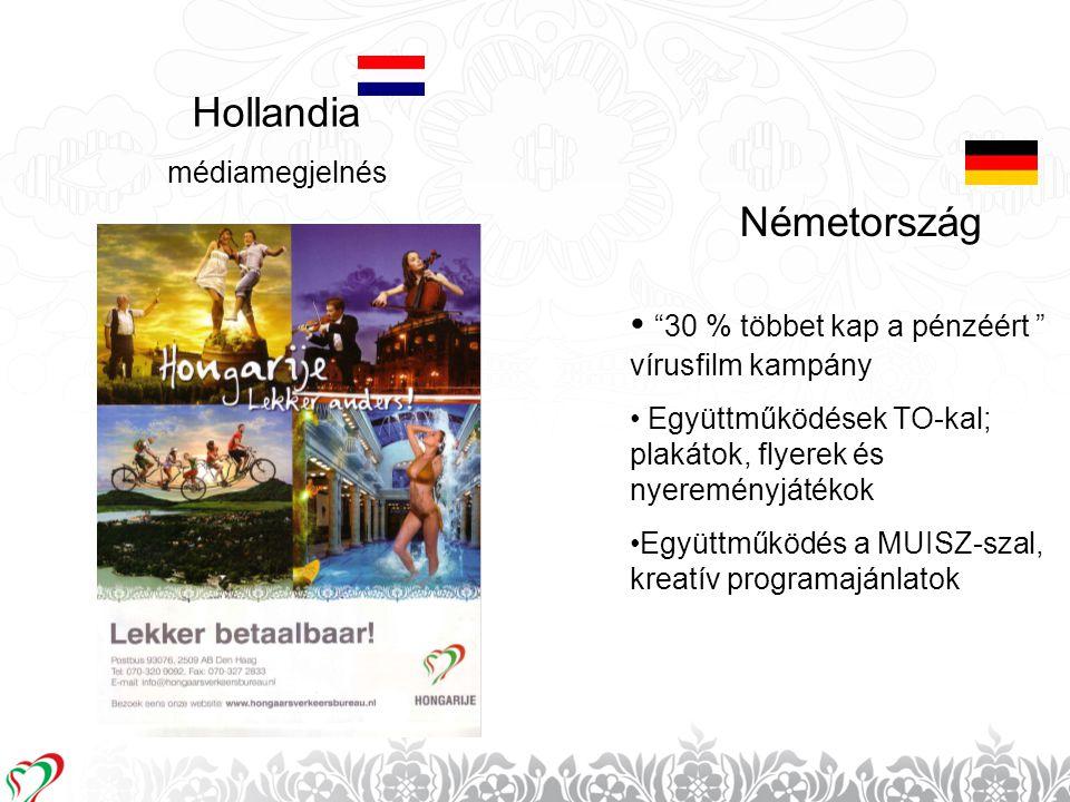 """16 Hollandia Németország médiamegjelnés • """"30 % többet kap a pénzéért """" vírusfilm kampány • Együttműködések TO-kal; plakátok, flyerek és nyereményjáté"""