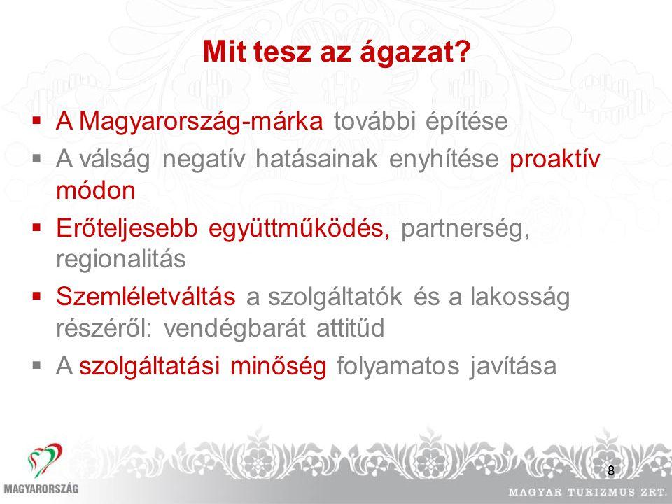 8 Mit tesz az ágazat?  A Magyarország-márka további építése  A válság negatív hatásainak enyhítése proaktív módon  Erőteljesebb együttműködés, part