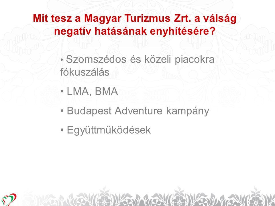 9 Mit tesz a Magyar Turizmus Zrt. a válság negatív hatásának enyhítésére? • Szomszédos és közeli piacokra fókuszálás • LMA, BMA • Budapest Adventure k
