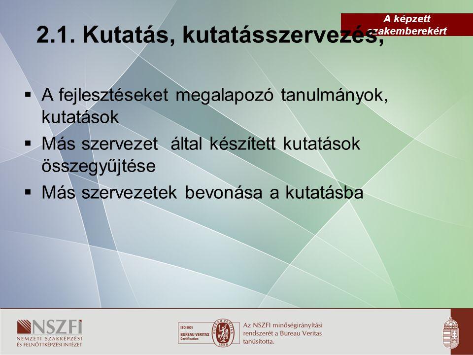 A képzett szakemberekért 2.1. Kutatás, kutatásszervezés,  A fejlesztéseket megalapozó tanulmányok, kutatások  Más szervezet által készített kutatáso