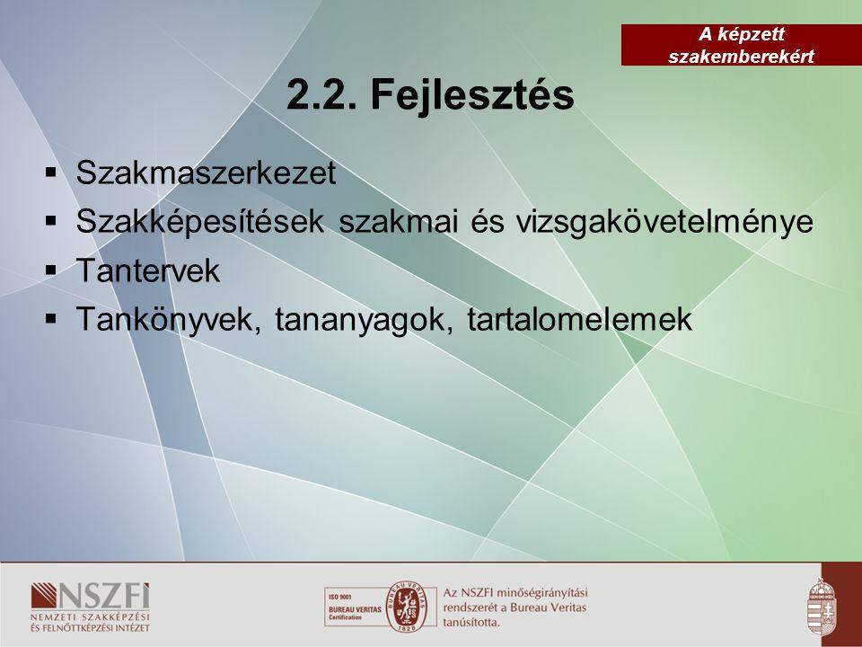 A képzett szakemberekért 2.2. Fejlesztés  Szakmaszerkezet  Szakképesítések szakmai és vizsgakövetelménye  Tantervek  Tankönyvek, tananyagok, tarta