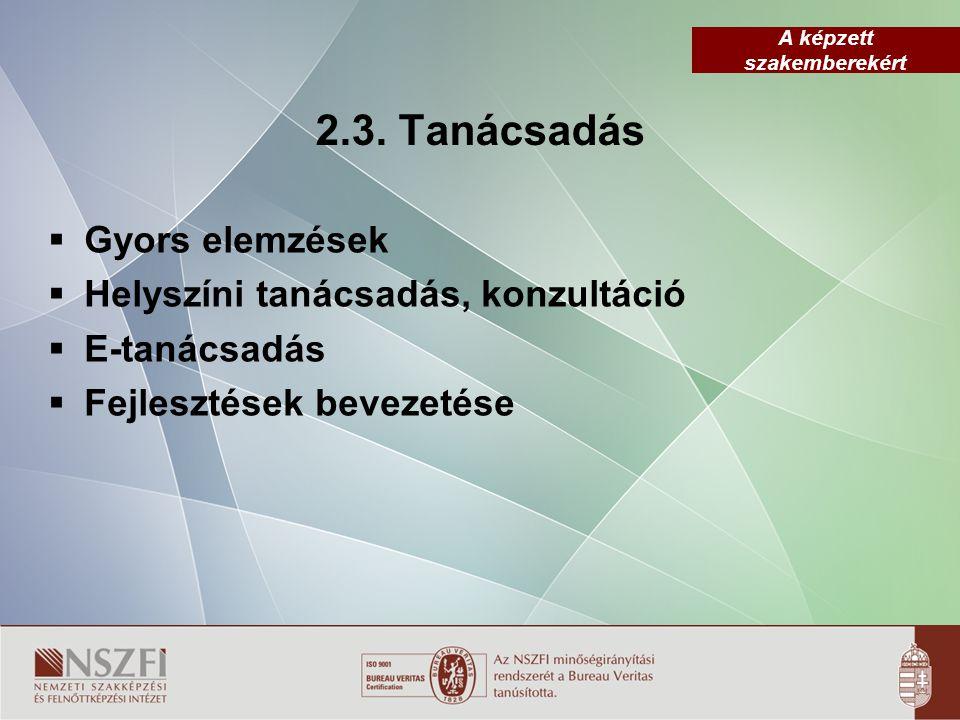 A képzett szakemberekért 2.3. Tanácsadás  Gyors elemzések  Helyszíni tanácsadás, konzultáció  E-tanácsadás  Fejlesztések bevezetése