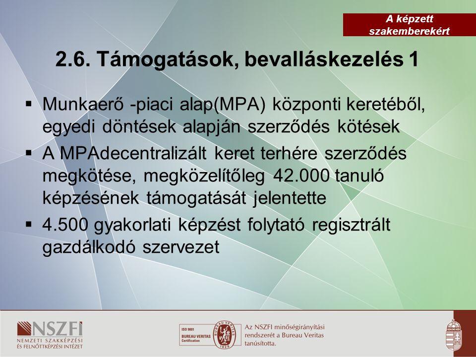A képzett szakemberekért 2.6. Támogatások, bevalláskezelés 1  Munkaerő -piaci alap(MPA) központi keretéből, egyedi döntések alapján szerződés kötések