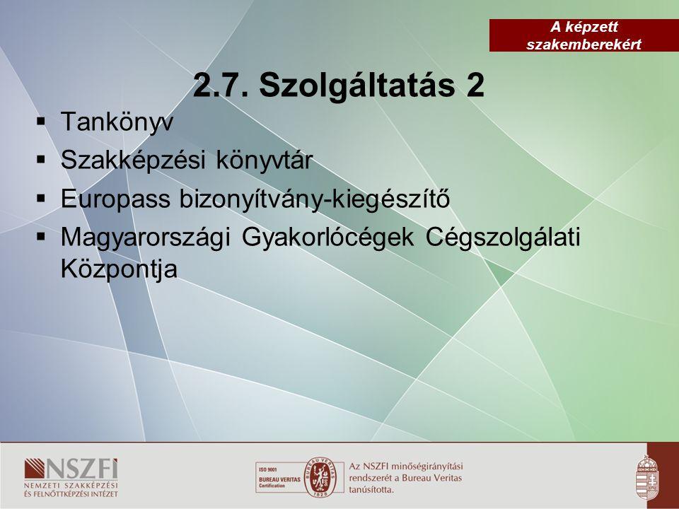 A képzett szakemberekért 2.7. Szolgáltatás 2  Tankönyv  Szakképzési könyvtár  Europass bizonyítvány-kiegészítő  Magyarországi Gyakorlócégek Cégszo