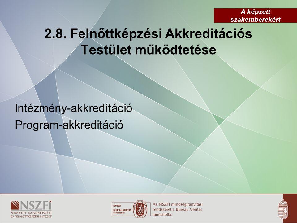 A képzett szakemberekért 2.8. Felnőttképzési Akkreditációs Testület működtetése Intézmény-akkreditáció Program-akkreditáció