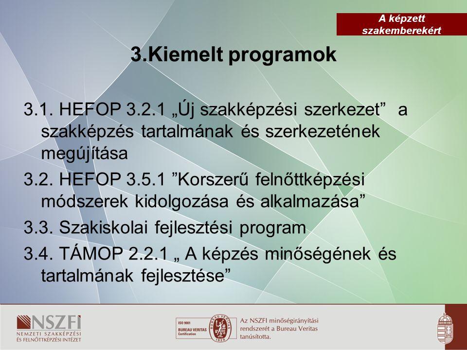"""A képzett szakemberekért 3.Kiemelt programok 3.1. HEFOP 3.2.1 """"Új szakképzési szerkezet"""" a szakképzés tartalmának és szerkezetének megújítása 3.2. HEF"""