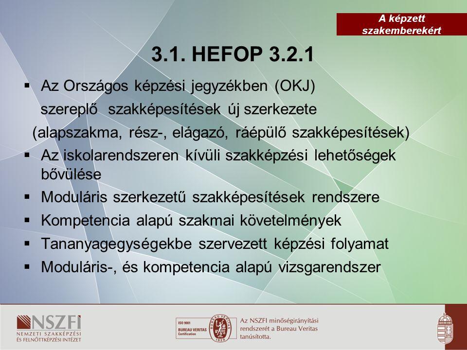 A képzett szakemberekért 3.1. HEFOP 3.2.1  Az Országos képzési jegyzékben (OKJ) szereplő szakképesítések új szerkezete (alapszakma, rész-, elágazó, r