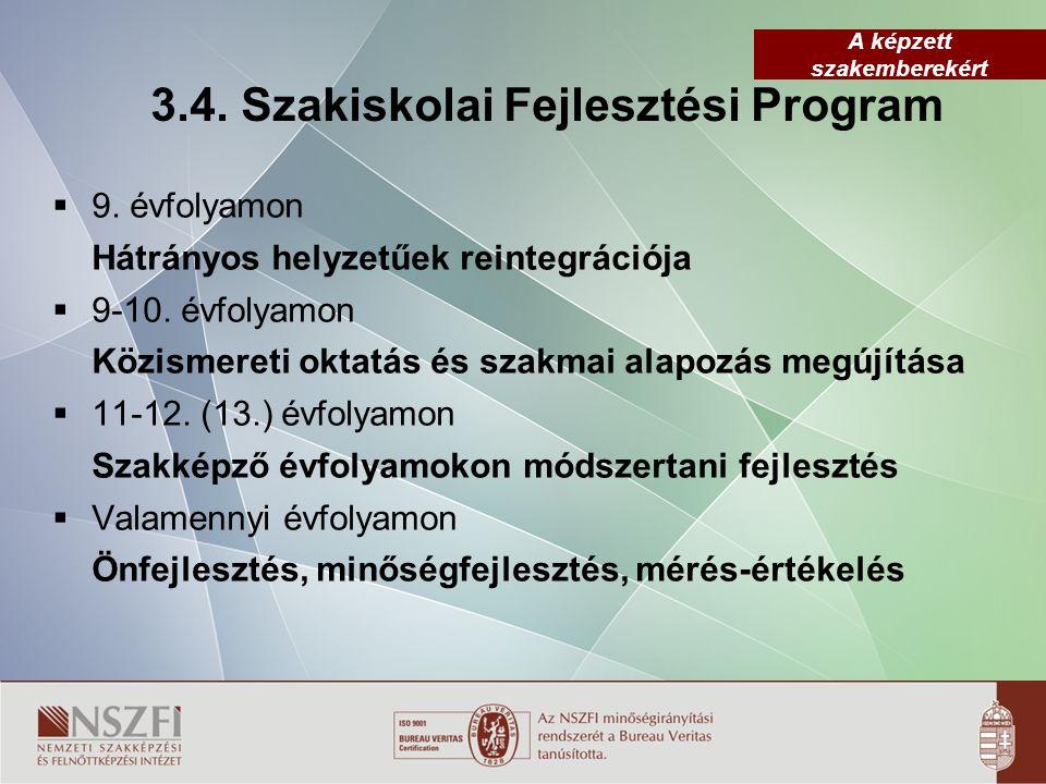 A képzett szakemberekért 3.4. Szakiskolai Fejlesztési Program  9. évfolyamon Hátrányos helyzetűek reintegrációja  9-10. évfolyamon Közismereti oktat