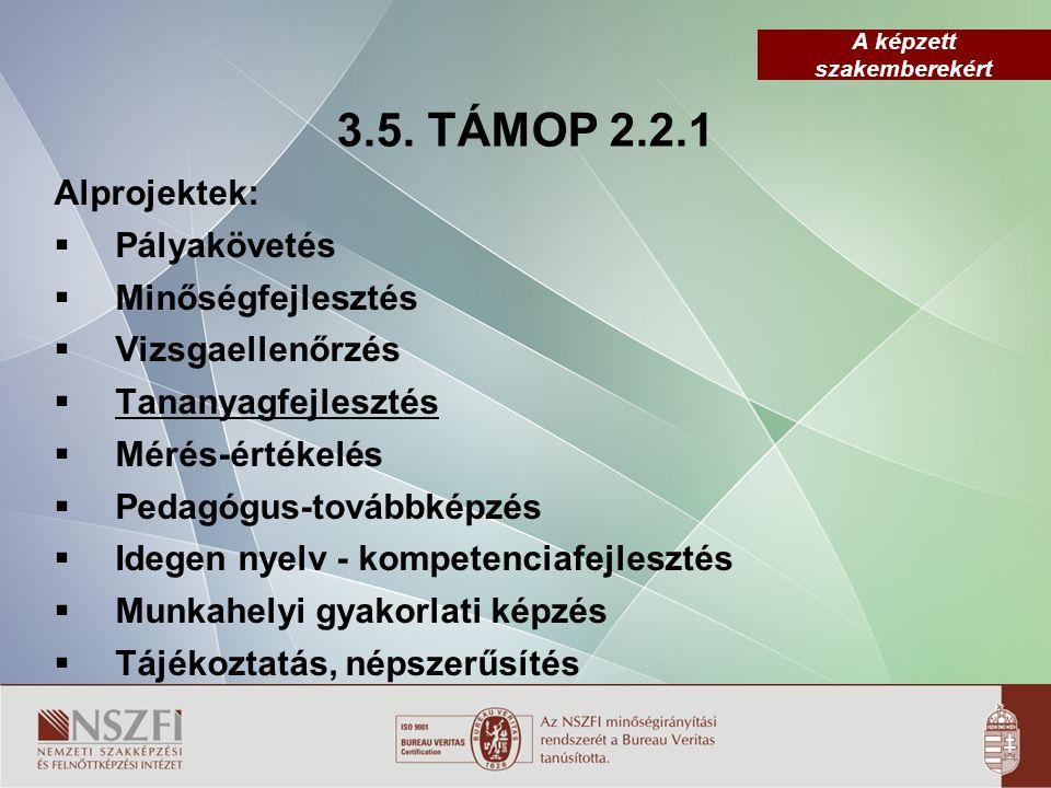 A képzett szakemberekért 3.5. TÁMOP 2.2.1 Alprojektek:  Pályakövetés  Minőségfejlesztés  Vizsgaellenőrzés  Tananyagfejlesztés  Mérés-értékelés 