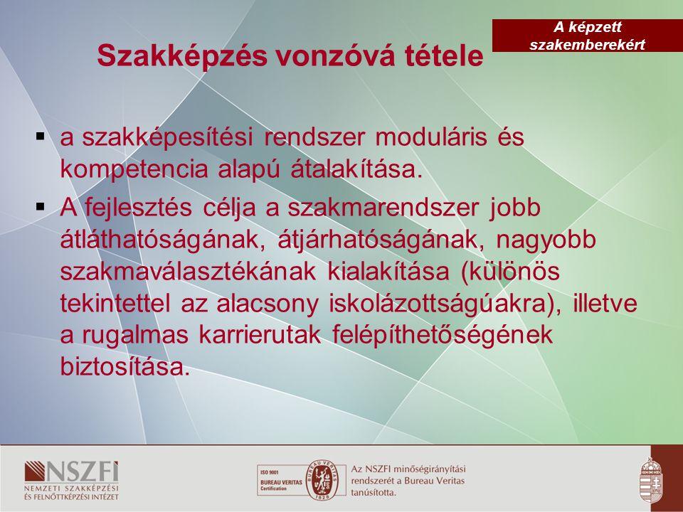 A képzett szakemberekért Szakképzés vonzóvá tétele  a szakképesítési rendszer moduláris és kompetencia alapú átalakítása.  A fejlesztés célja a szak