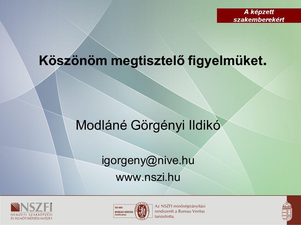 A képzett szakemberekért Köszönöm megtisztelő figyelmüket. Modláné Görgényi Ildikó igorgeny@nive.hu www.nszi.hu
